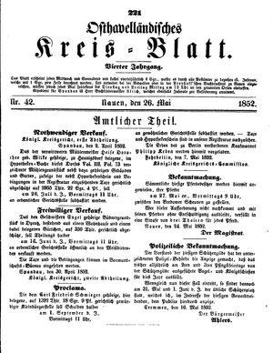 Osthavelländisches Kreisblatt vom 26.05.1852