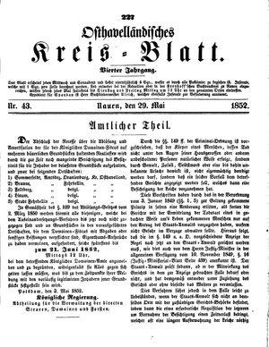 Osthavelländisches Kreisblatt vom 29.05.1852