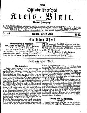 Osthavelländisches Kreisblatt vom 02.06.1852
