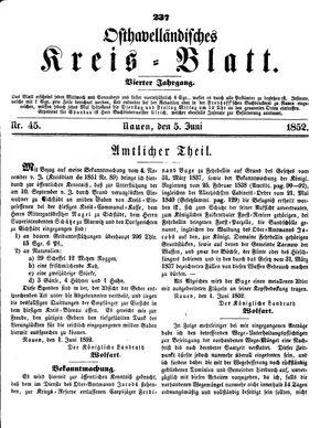 Osthavelländisches Kreisblatt vom 05.06.1852