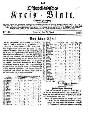 Osthavelländisches Kreisblatt vom 09.06.1852