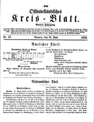 Osthavelländisches Kreisblatt vom 12.06.1852