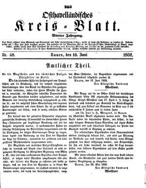Osthavelländisches Kreisblatt vom 16.06.1852