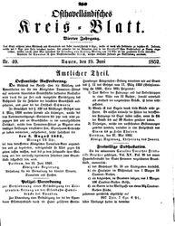 Osthavelländisches Kreisblatt (19.06.1852)
