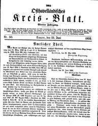Osthavelländisches Kreisblatt (23.06.1852)