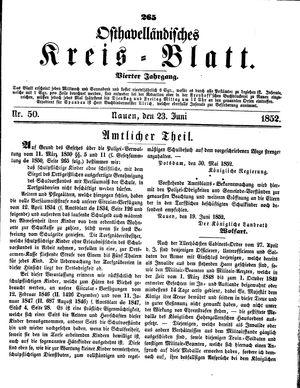Osthavelländisches Kreisblatt vom 23.06.1852