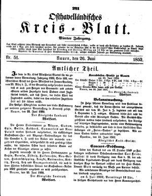 Osthavelländisches Kreisblatt vom 26.06.1852