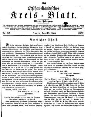Osthavelländisches Kreisblatt vom 30.06.1852