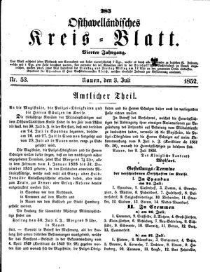 Osthavelländisches Kreisblatt on Jul 3, 1852
