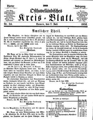 Osthavelländisches Kreisblatt on Jul 7, 1852