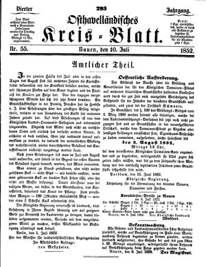 Osthavelländisches Kreisblatt vom 10.07.1852