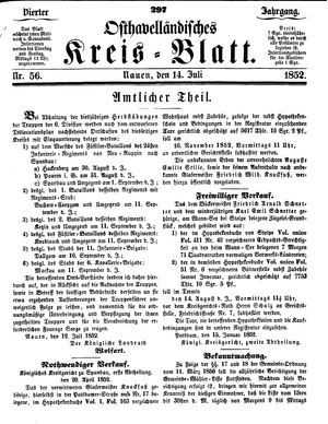 Osthavelländisches Kreisblatt vom 14.07.1852
