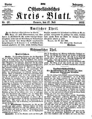 Osthavelländisches Kreisblatt vom 17.07.1852