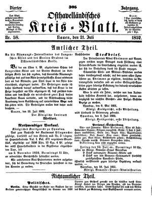 Osthavelländisches Kreisblatt vom 21.07.1852