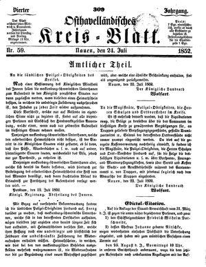Osthavelländisches Kreisblatt vom 24.07.1852