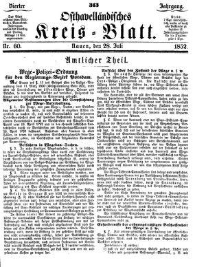 Osthavelländisches Kreisblatt vom 28.07.1852
