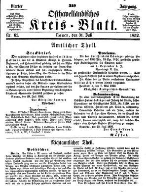 Osthavelländisches Kreisblatt vom 31.07.1852