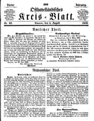 Osthavelländisches Kreisblatt vom 04.08.1852