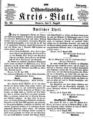 Osthavelländisches Kreisblatt on Aug 7, 1852