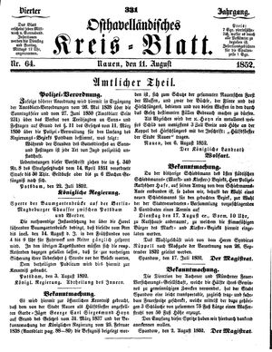Osthavelländisches Kreisblatt vom 11.08.1852