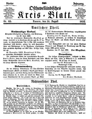 Osthavelländisches Kreisblatt vom 14.08.1852