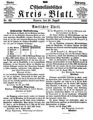 Osthavelländisches Kreisblatt vom 18.08.1852
