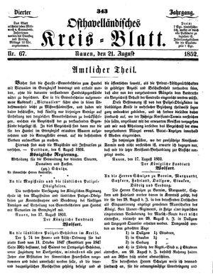 Osthavelländisches Kreisblatt on Aug 21, 1852
