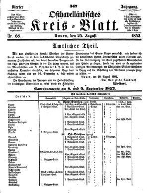 Osthavelländisches Kreisblatt vom 25.08.1852