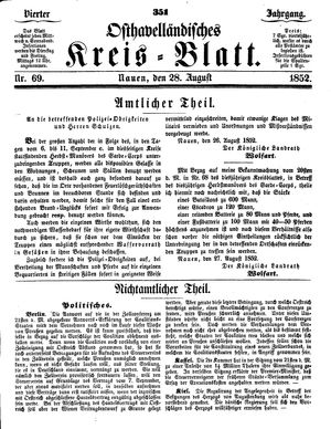 Osthavelländisches Kreisblatt vom 28.08.1852