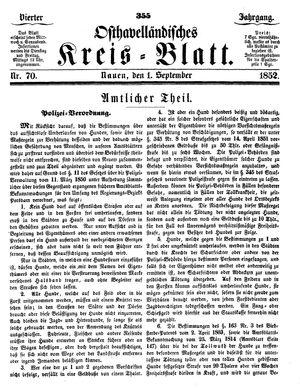 Osthavelländisches Kreisblatt vom 01.09.1852