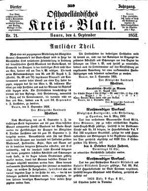 Osthavelländisches Kreisblatt vom 04.09.1852