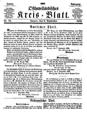 Osthavelländisches Kreisblatt vom 08.09.1852