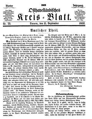 Osthavelländisches Kreisblatt on Sep 11, 1852