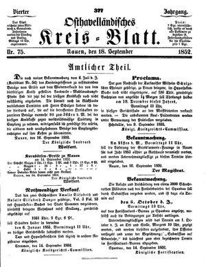 Osthavelländisches Kreisblatt vom 18.09.1852