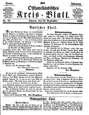 Osthavelländisches Kreisblatt vom 22.09.1852