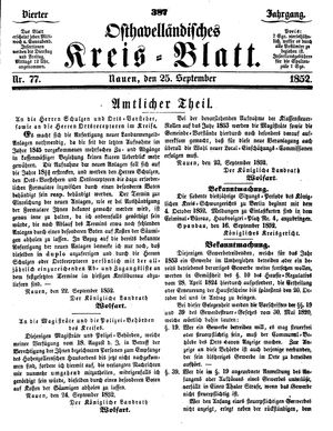 Osthavelländisches Kreisblatt vom 25.09.1852