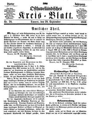 Osthavelländisches Kreisblatt vom 29.09.1852