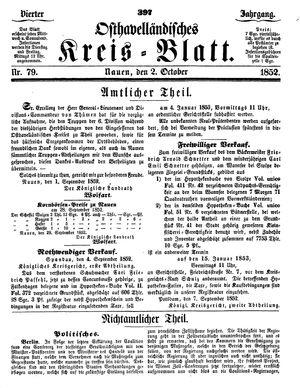 Osthavelländisches Kreisblatt on Oct 2, 1852
