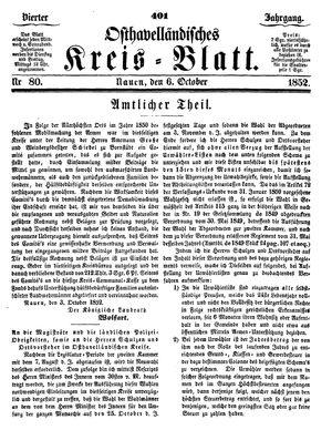 Osthavelländisches Kreisblatt vom 06.10.1852