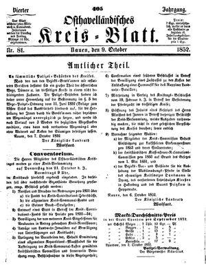 Osthavelländisches Kreisblatt vom 09.10.1852