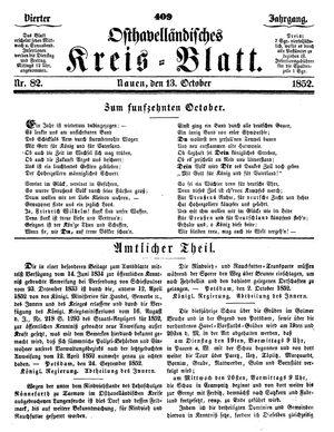 Osthavelländisches Kreisblatt vom 13.10.1852