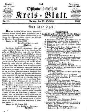 Osthavelländisches Kreisblatt vom 16.10.1852