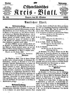 Osthavelländisches Kreisblatt vom 20.10.1852