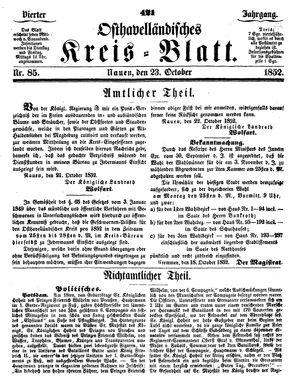 Osthavelländisches Kreisblatt vom 23.10.1852