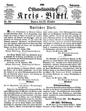 Osthavelländisches Kreisblatt vom 27.10.1852
