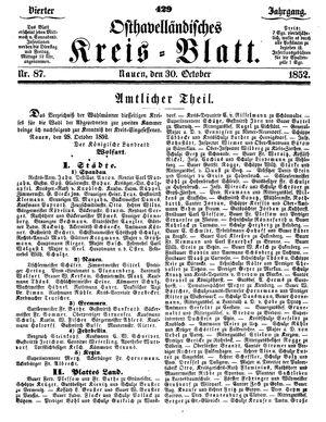 Osthavelländisches Kreisblatt vom 30.10.1852