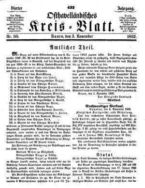 Osthavelländisches Kreisblatt on Nov 3, 1852