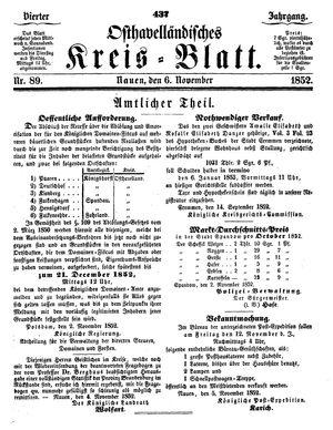Osthavelländisches Kreisblatt vom 06.11.1852