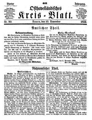 Osthavelländisches Kreisblatt vom 10.11.1852