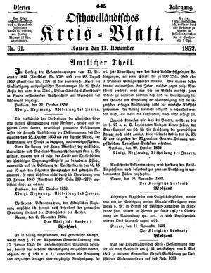 Osthavelländisches Kreisblatt vom 13.11.1852